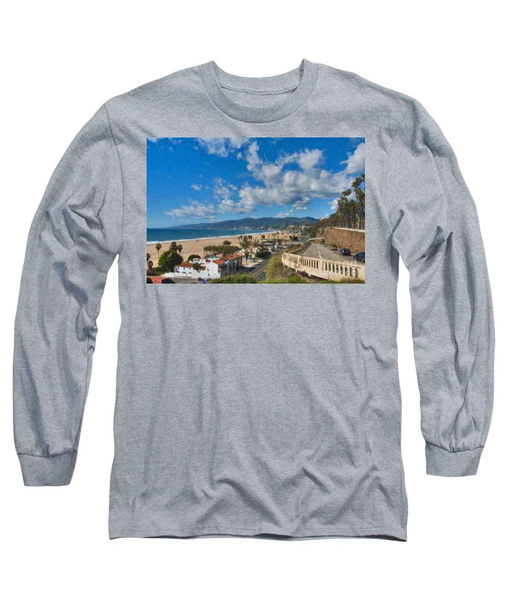 California Incline Palisades Park Ca Long Sleeve T-Shirt featuring the photograph California Incline Palisades Park Ca by David Zanzinger