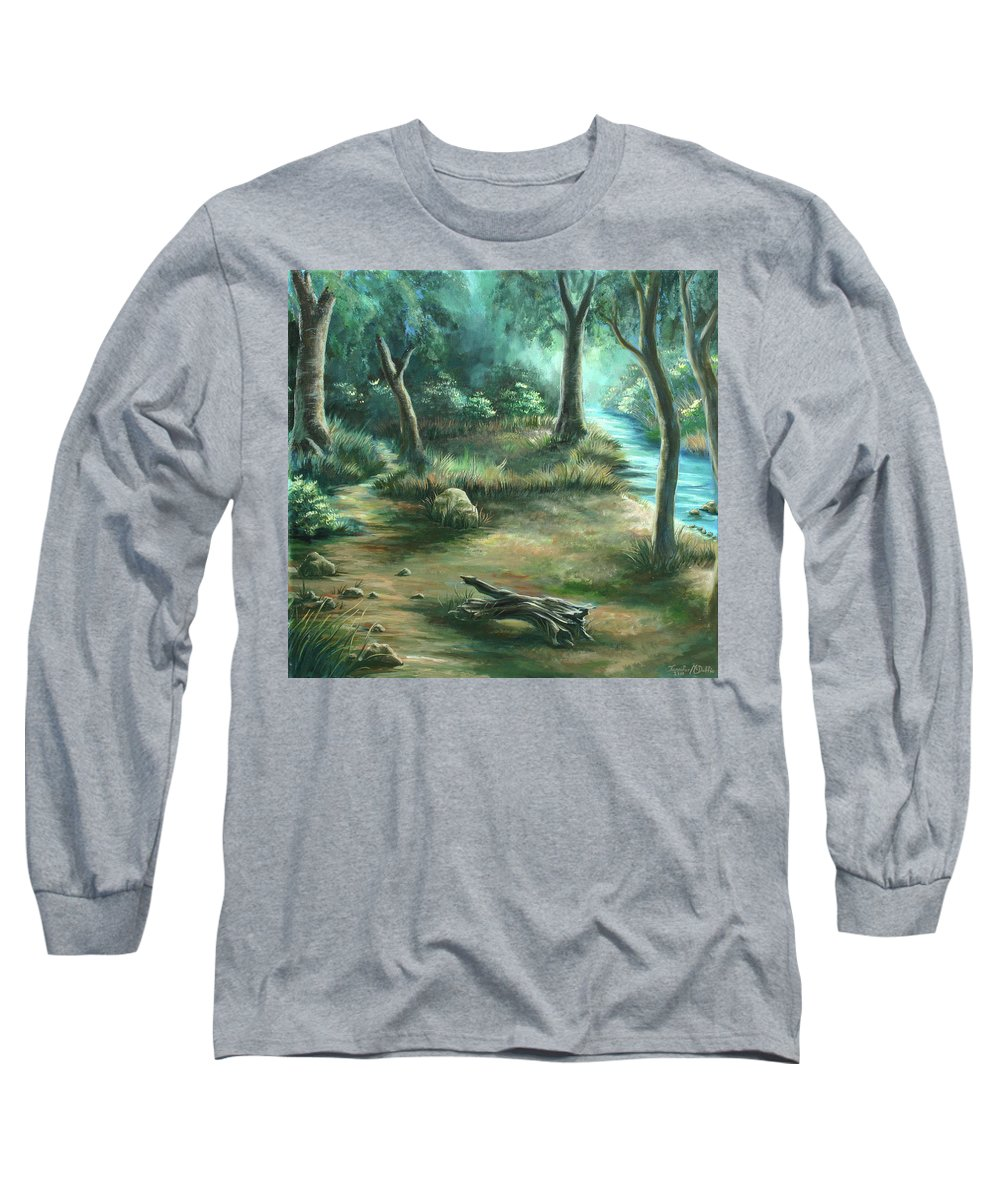 Landscape Long Sleeve T-Shirt featuring the painting Camping At Figueroa Mountains by Jennifer McDuffie