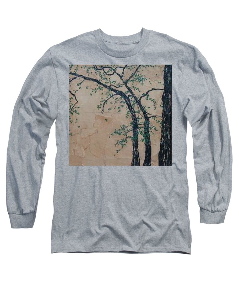 Leafy Tree Long Sleeve T-Shirt featuring the painting Canandaigua Lake by Leah Tomaino