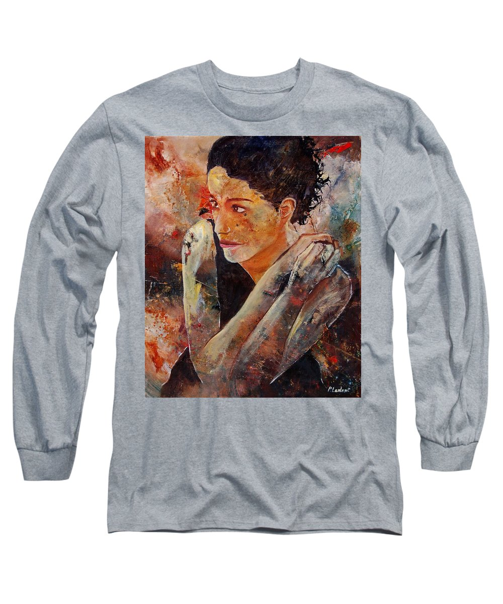 Figurative Long Sleeve T-Shirt featuring the painting Candid Eyes by Pol Ledent