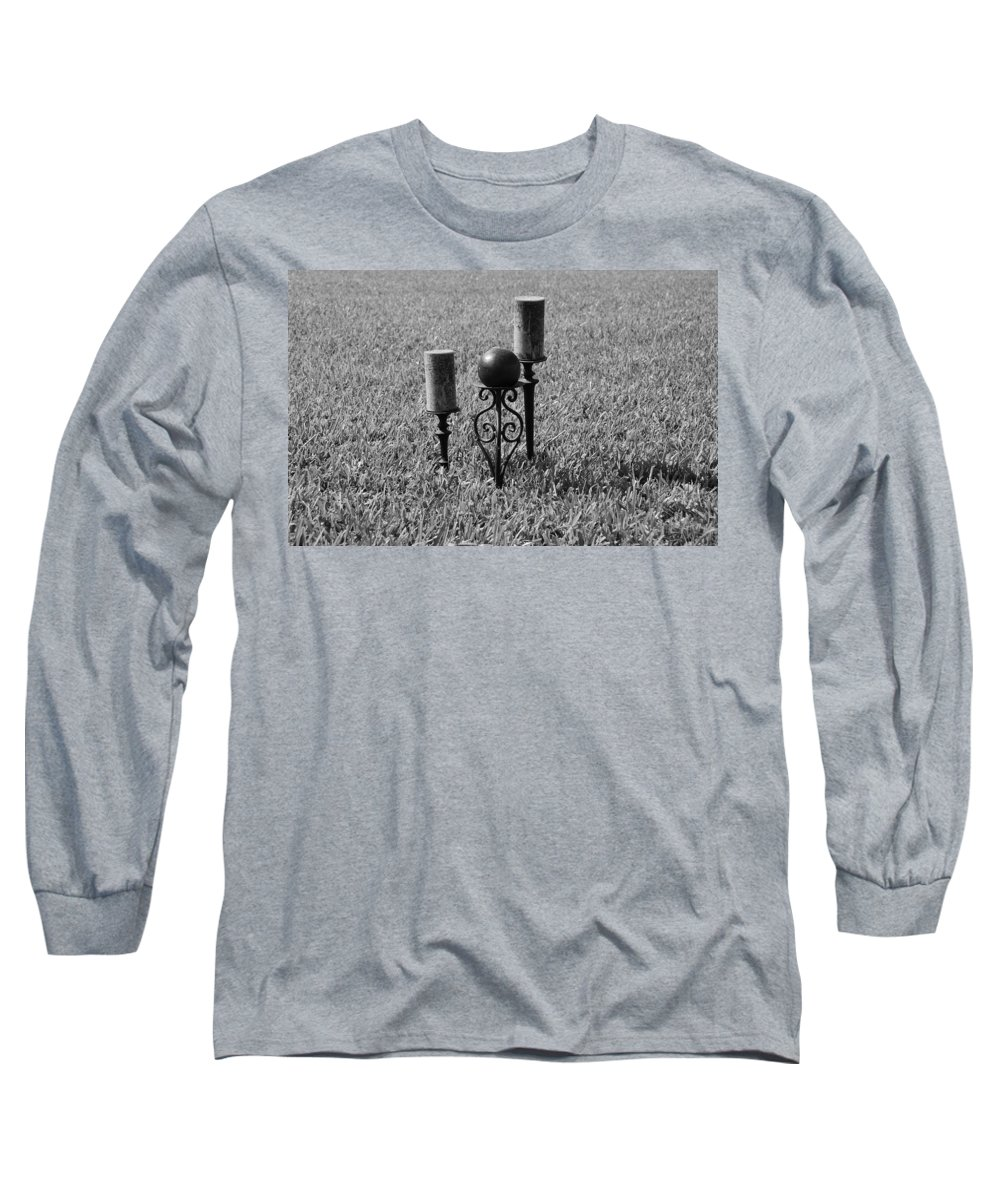 Black And White Long Sleeve T-Shirt featuring the photograph Candles In Grass by Rob Hans