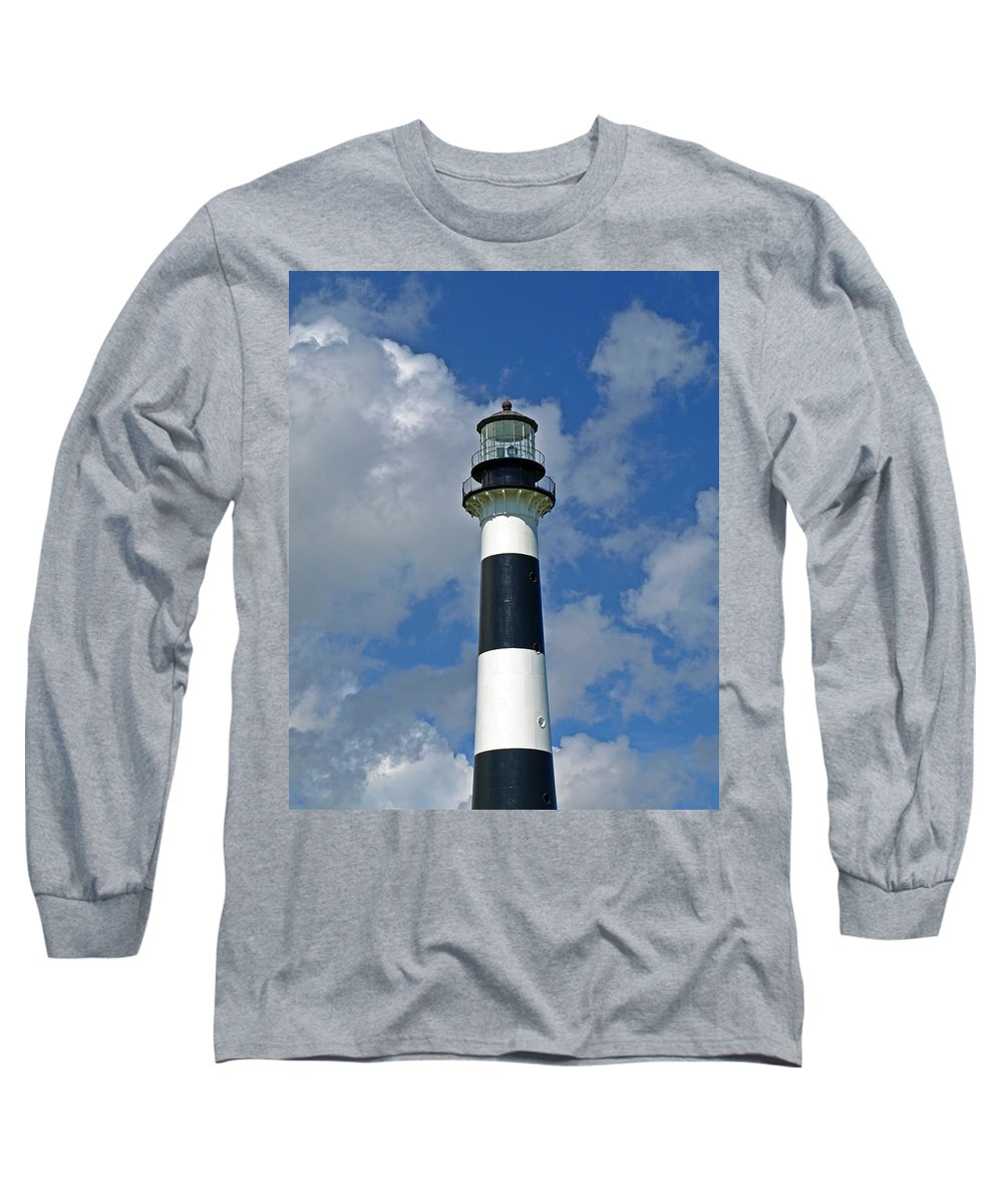 Lighthouse; Light; Canaveral; Cape; Cape Canaveral; Ccafs; Florida; East; Coast; Kennedy; Space; Cen Long Sleeve T-Shirt featuring the photograph Canveral Light Florida by Allan Hughes
