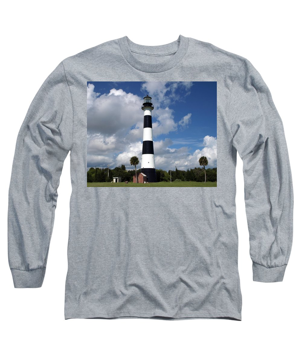 Lighthouse; Light; Canaveral; Cape; Cape Canaveral; Ccafs; Florida; East; Coast; Kennedy; Space; Cen Long Sleeve T-Shirt featuring the photograph Cape Canaveral Light Florida by Allan Hughes