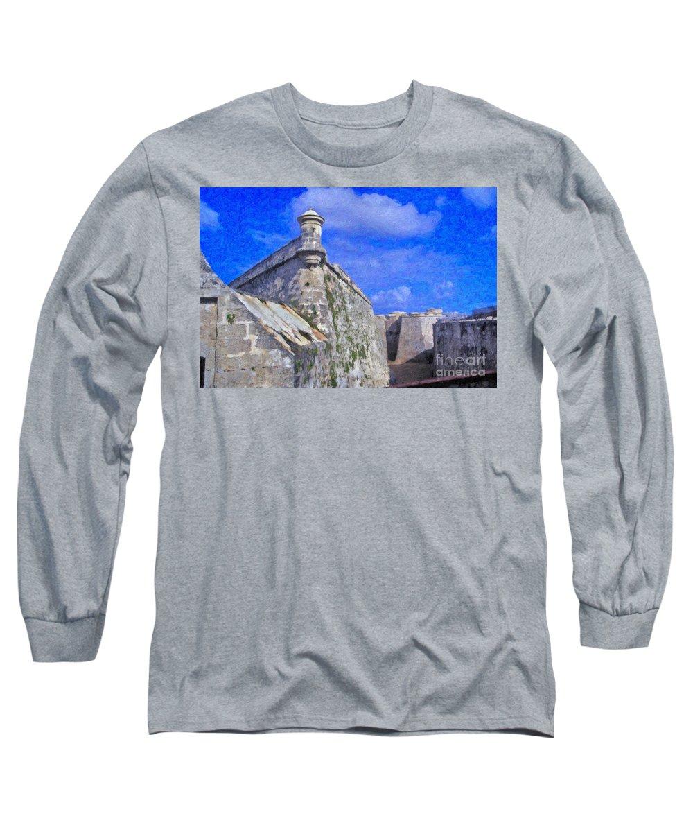 Castillo El Morro- Havana Long Sleeve T-Shirt featuring the photograph Castillo El Morro Havana Cuba by David Zanzinger