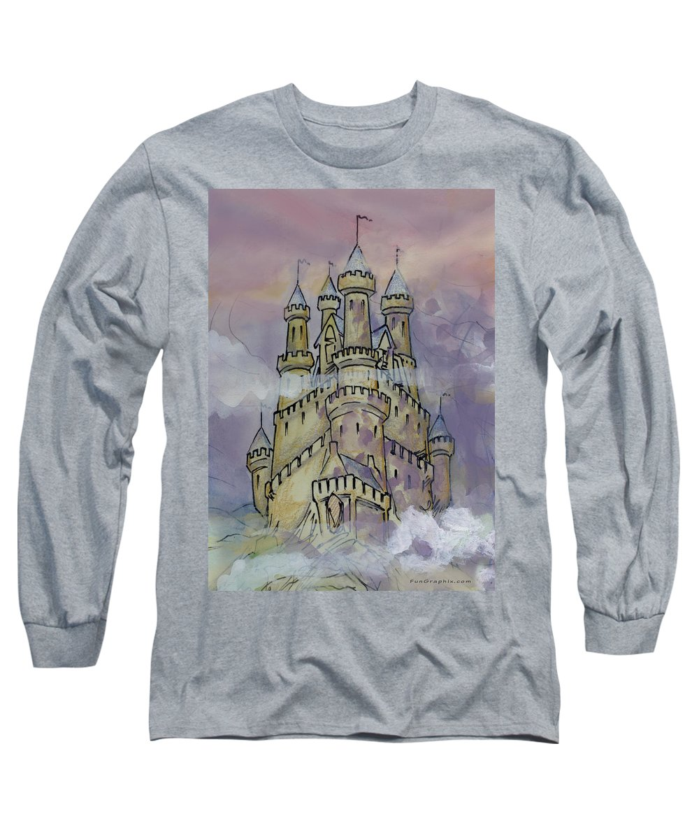 Castle Long Sleeve T-Shirt featuring the greeting card Castle by Kevin Middleton
