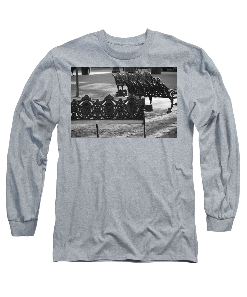Black And White Long Sleeve T-Shirt featuring the photograph Cherb Benches by Rob Hans