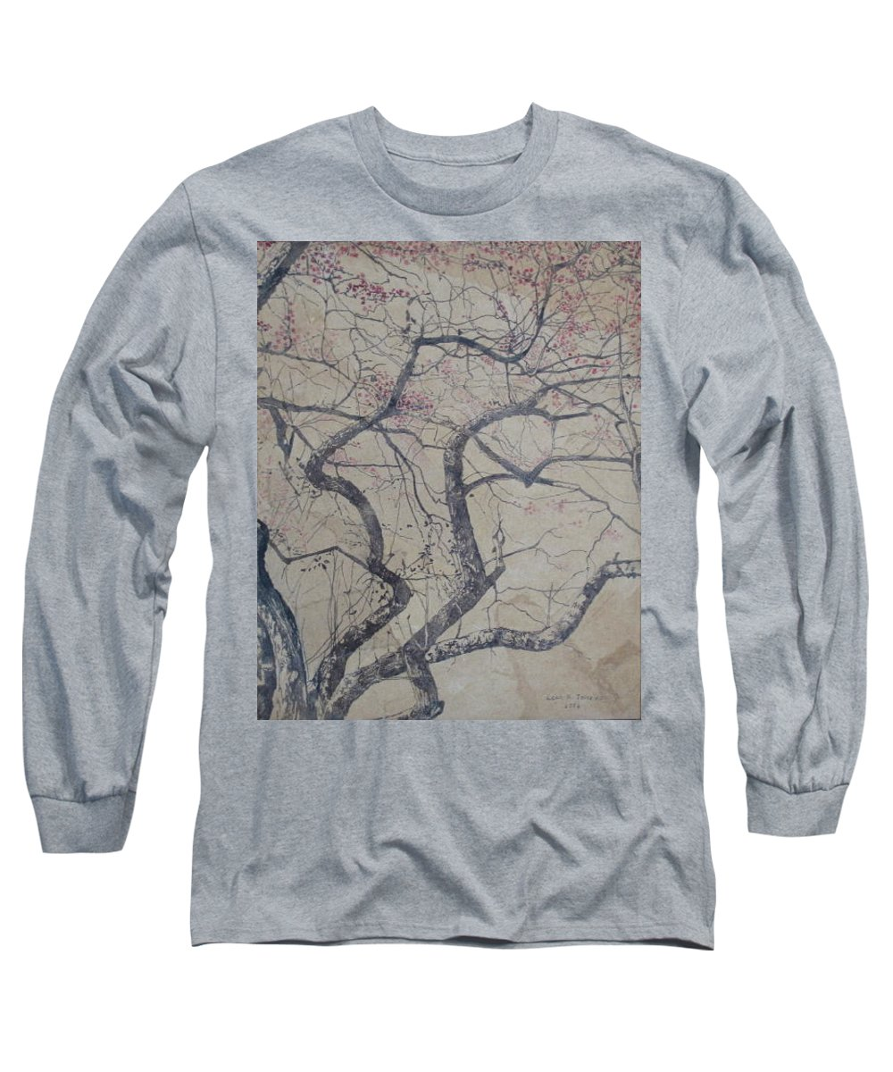 Crab Apple Long Sleeve T-Shirt featuring the painting Prairie Fire by Leah Tomaino