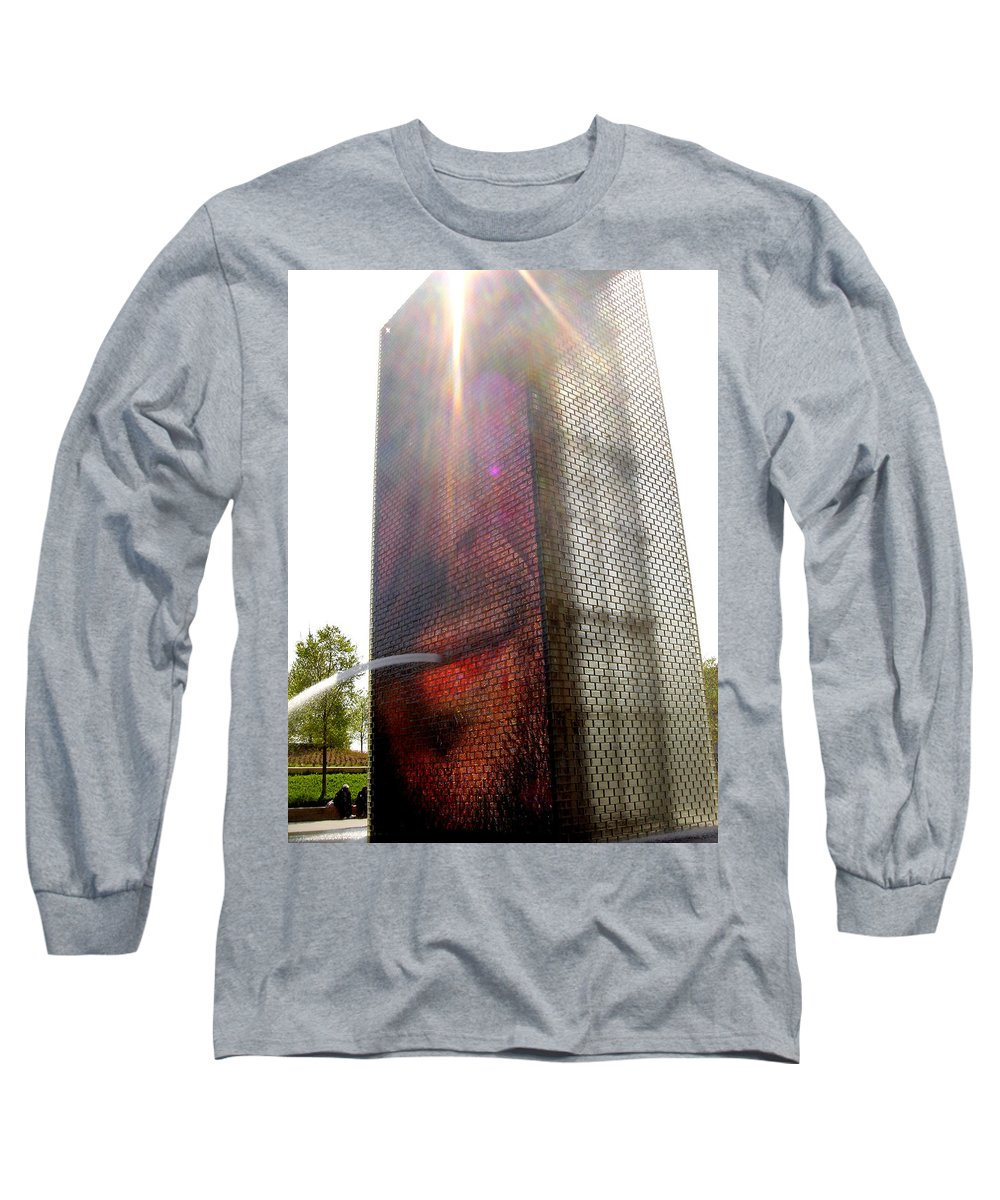 Chicago Long Sleeve T-Shirt featuring the photograph Chicago Crown Fountain 4 by Jean Macaluso