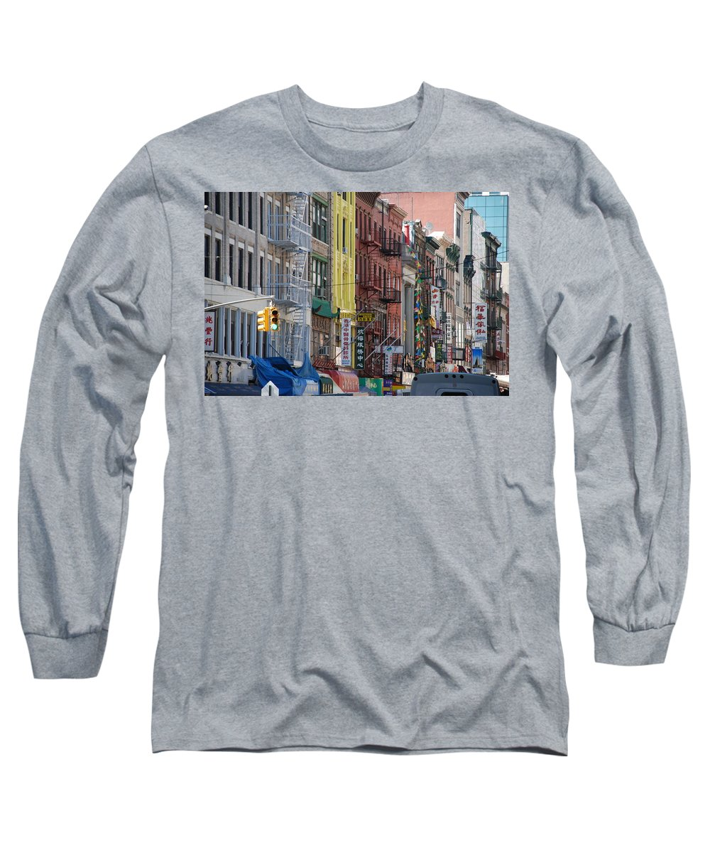 Architecture Long Sleeve T-Shirt featuring the photograph Chinatown Walk Ups by Rob Hans