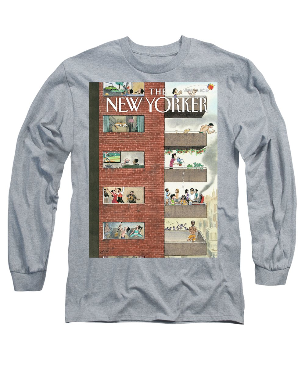 City Living Long Sleeve T-Shirt featuring the drawing City Living by Harry Bliss