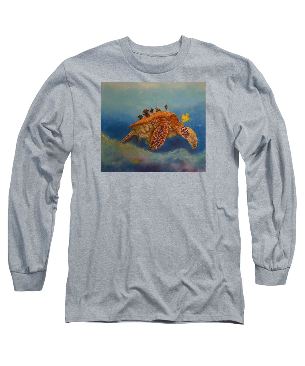 Turtle Long Sleeve T-Shirt featuring the painting Cleaning Station by Ceci Watson
