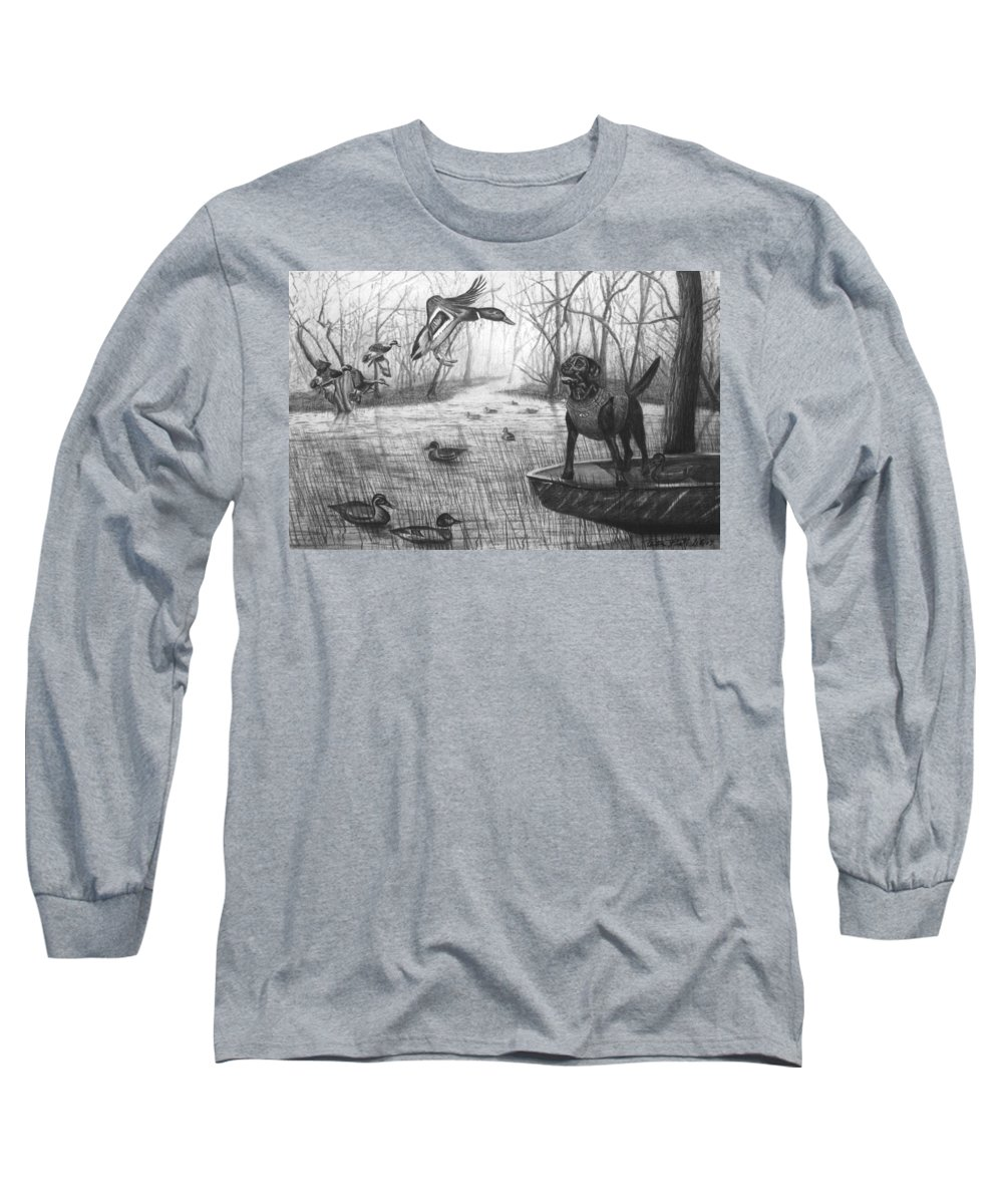 Cloaked Long Sleeve T-Shirt featuring the drawing Cloaked by Peter Piatt