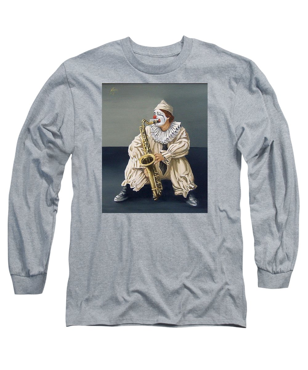 Clown Figurative Portrait People Long Sleeve T-Shirt featuring the painting Clown by Natalia Tejera