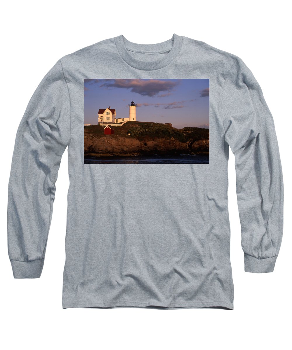 Landscape New England Lighthouse Nautical Coast Long Sleeve T-Shirt featuring the photograph Cnrf0908 by Henry Butz