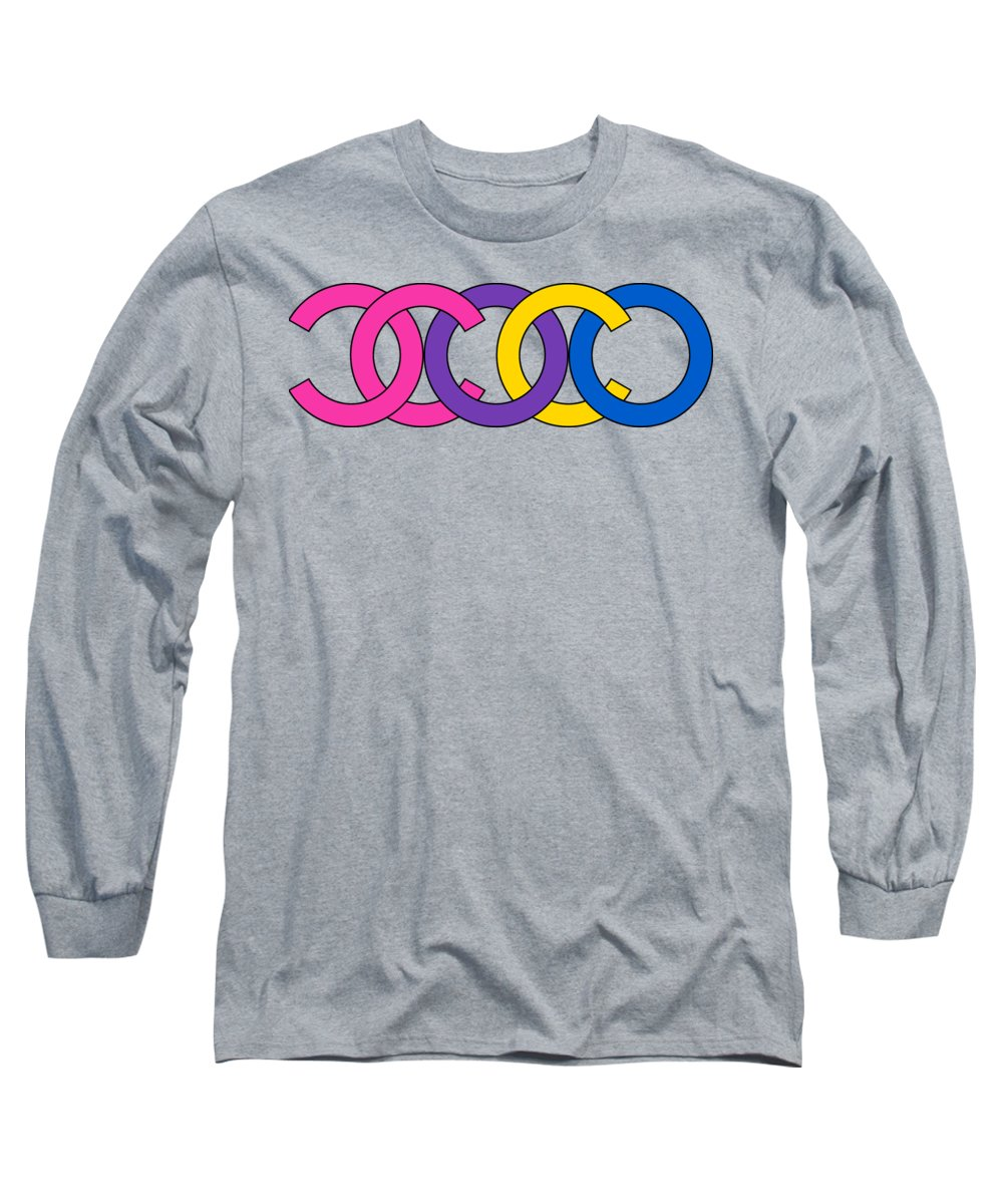 Chanel Long Sleeve T-Shirt featuring the painting Coco Chanel-8 by Nikita