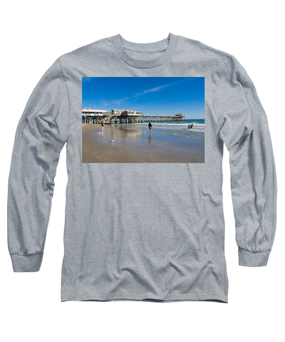 Florida; Cocoa; Beach; Atlantic; Ocean; East; Space; Coast; Brevard; Central; Pier; Surf; Surfing; F Long Sleeve T-Shirt featuring the photograph Cocoa Beach Florida by Allan Hughes