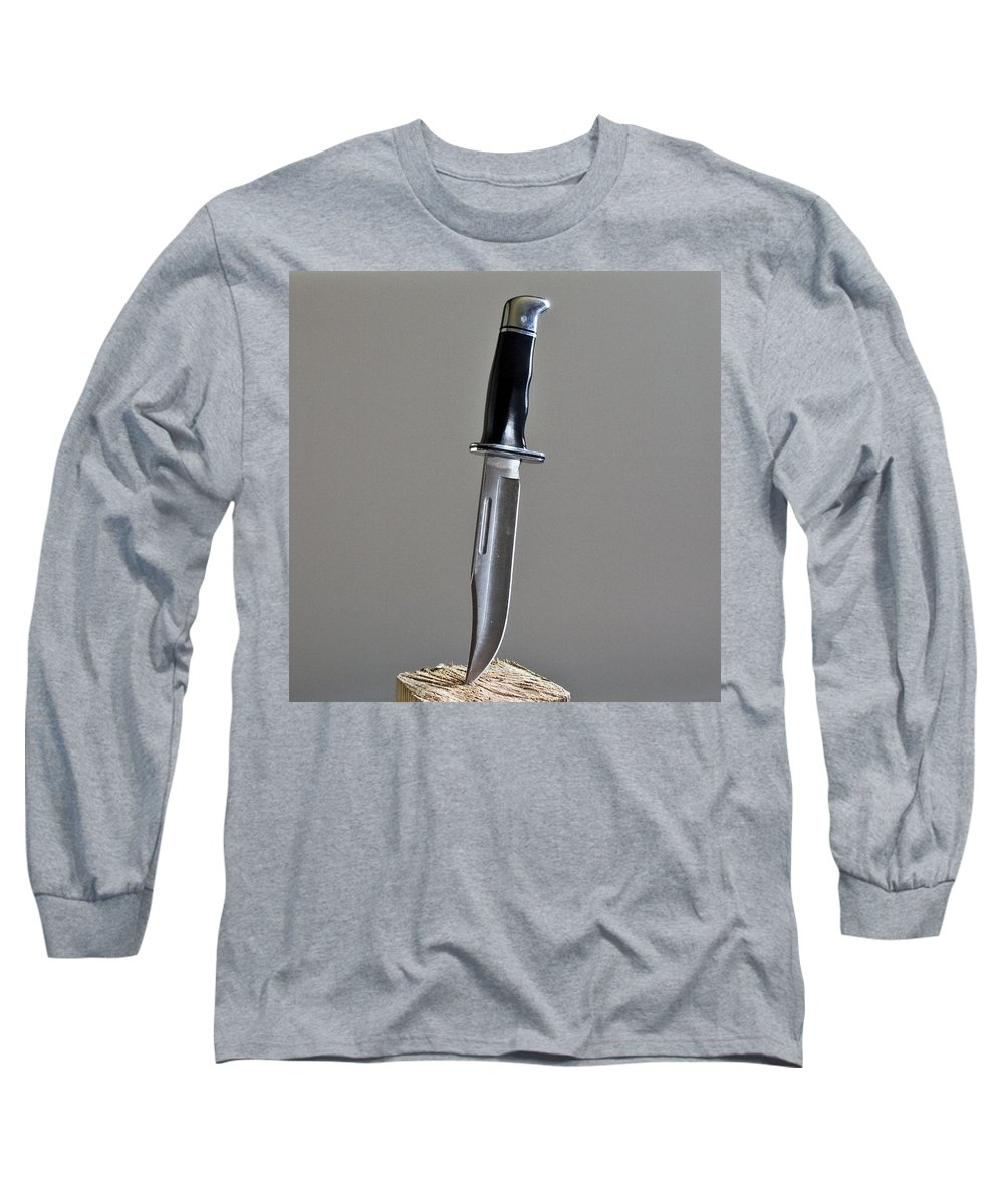 Cold; Steel; Stainless; Knife; Hunting; Hunt; Buck; Camping; Camp; Belt; Sheath; Sharp; Cut; Cutting Long Sleeve T-Shirt featuring the photograph Cold Steel by Allan Hughes
