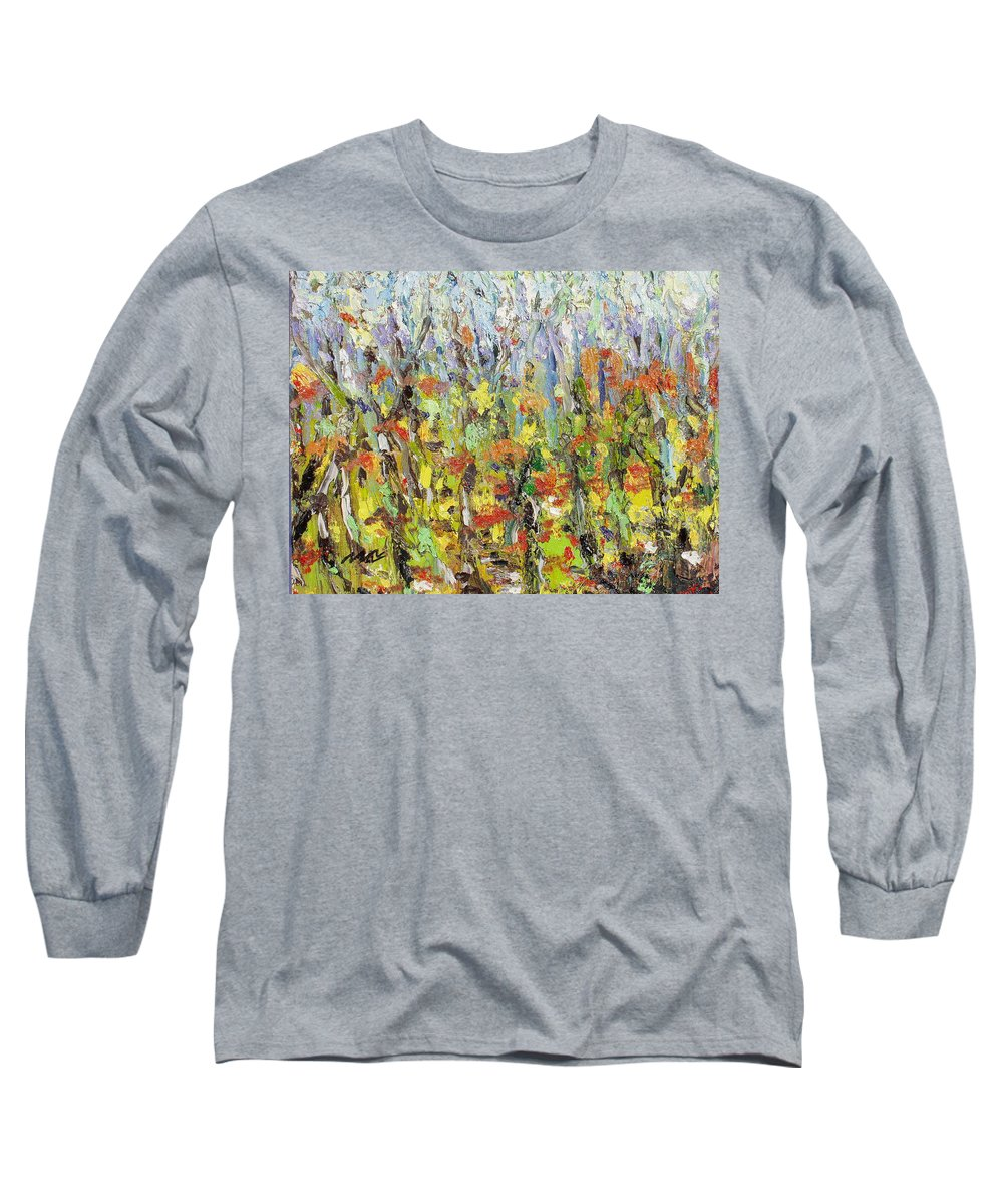 Autumn Abstract Paintings Long Sleeve T-Shirt featuring the painting Colorful Forest by Seon-Jeong Kim