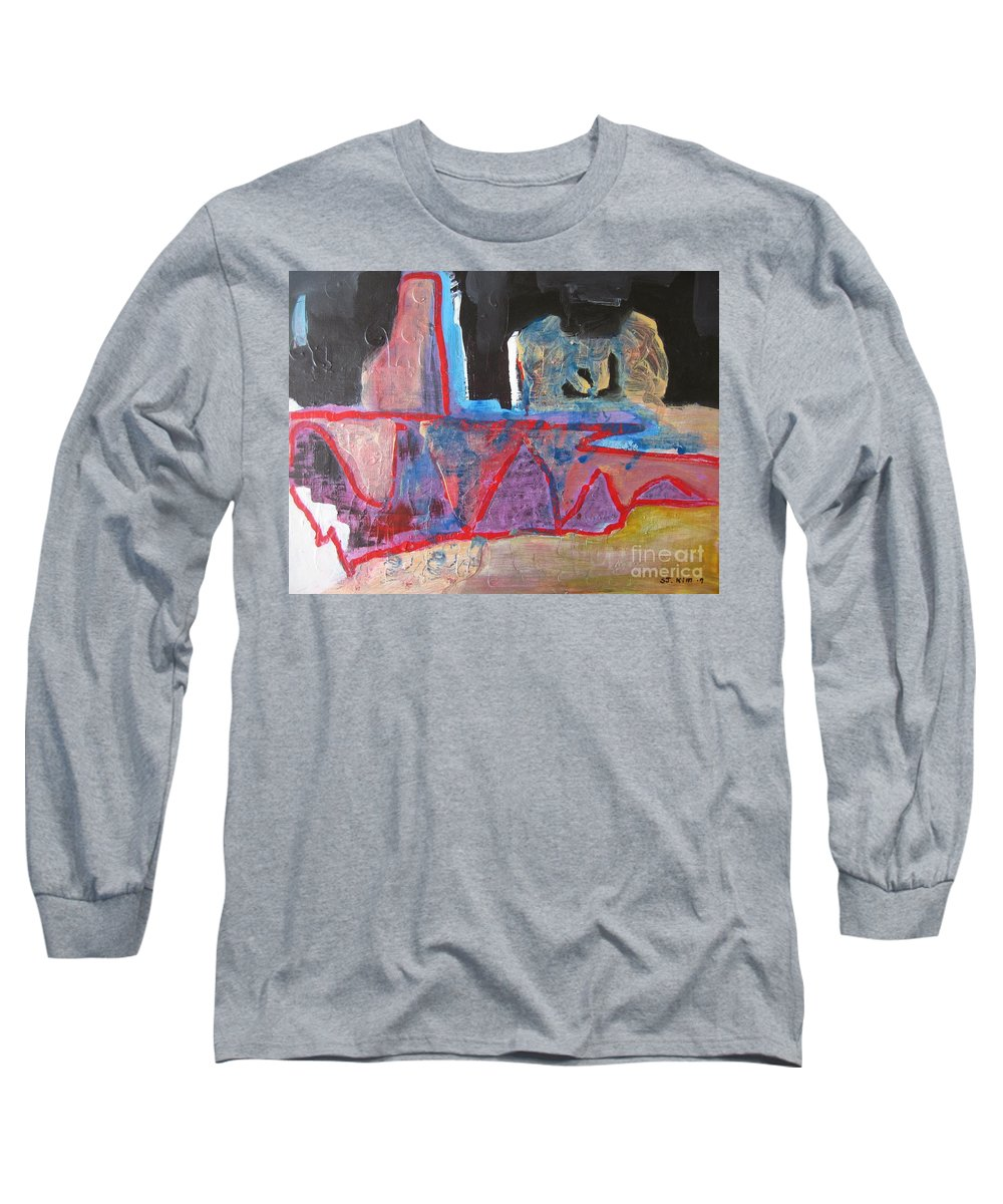 Abstract Paintings Long Sleeve T-Shirt featuring the painting Contradiction Of Time by Seon-Jeong Kim