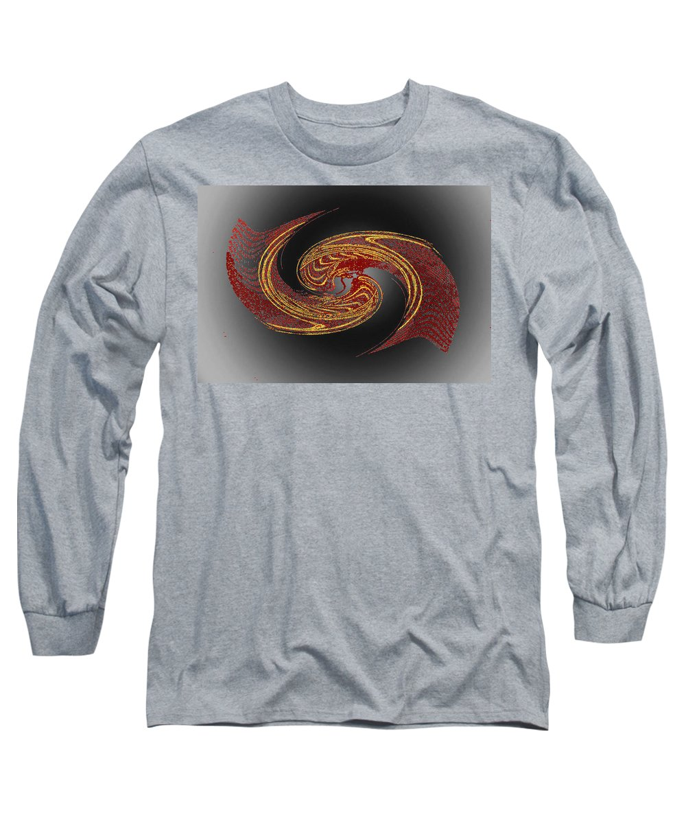 Red Long Sleeve T-Shirt featuring the digital art Convergence In Red And Gold by Don Quackenbush