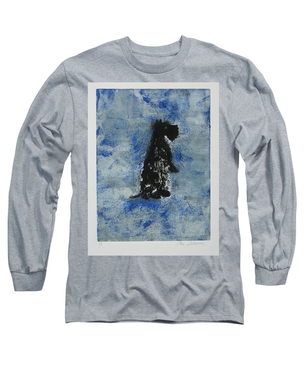 Monotype Long Sleeve T-Shirt featuring the mixed media Cool Blue by Cori Solomon