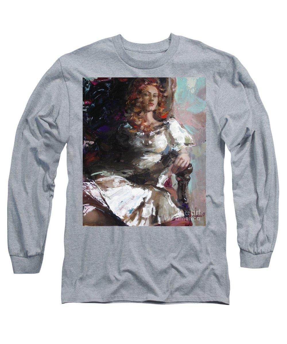 Ignatenko Long Sleeve T-Shirt featuring the painting Countess by Sergey Ignatenko