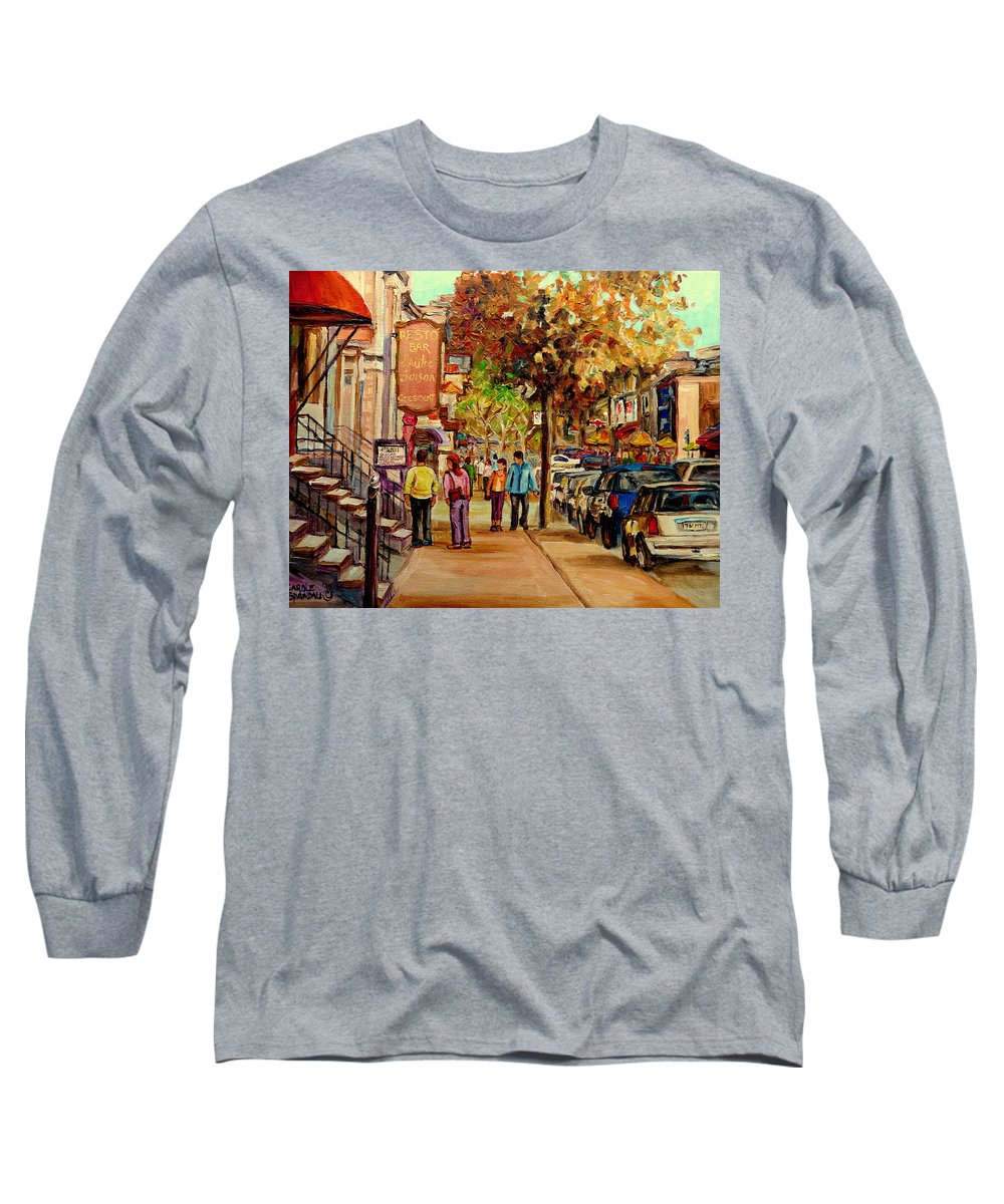 Montreal Streetscenes Long Sleeve T-Shirt featuring the painting Crescent Street Montreal by Carole Spandau