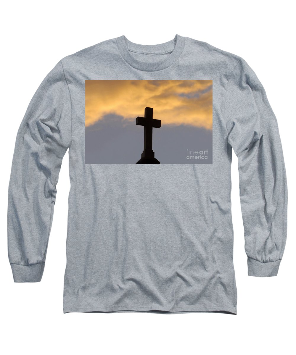 Cross Long Sleeve T-Shirt featuring the photograph Cross And Sky by David Lee Thompson