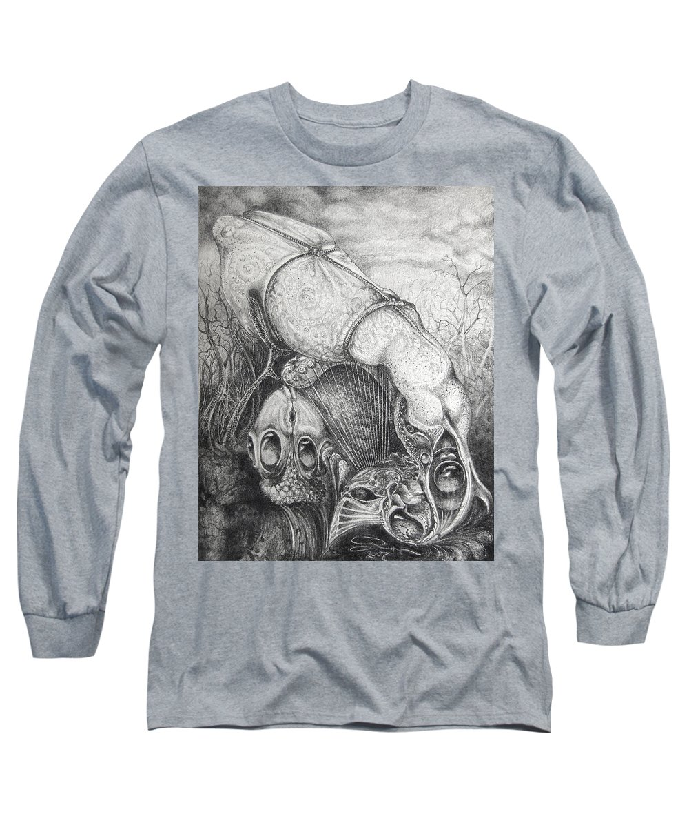 Surrealism Long Sleeve T-Shirt featuring the drawing Ctulhu Seedpods by Otto Rapp