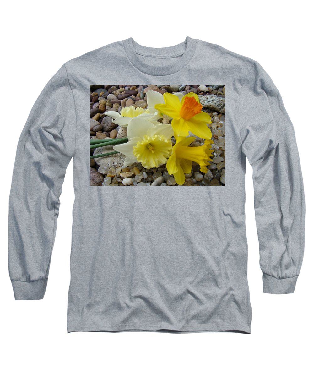 �daffodils Artwork� Long Sleeve T-Shirt featuring the photograph Daffodils Flower Artwork 29 Daffodil Flowers Agate Rock Garden Floral Art Prints by Baslee Troutman