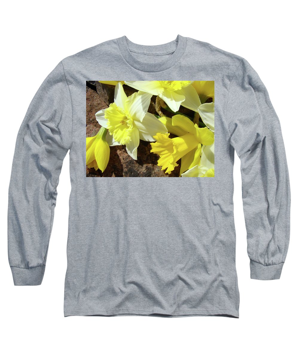 �daffodils Artwork� Long Sleeve T-Shirt featuring the photograph Daffodils Flower Bouquet Rustic Rock Art Daffodil Flowers Artwork Spring Floral Art by Baslee Troutman
