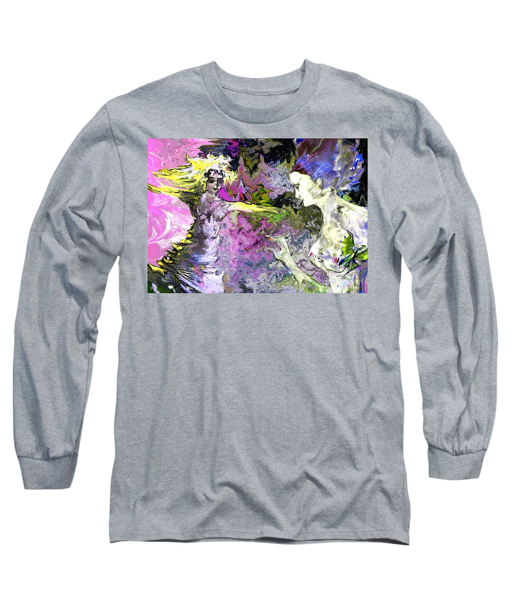 Miki Long Sleeve T-Shirt featuring the painting Dance In Violet by Miki De Goodaboom