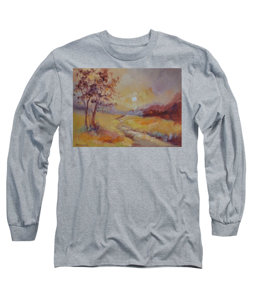 Evening Landscape Long Sleeve T-Shirt featuring the painting Day's End by Ginger Concepcion