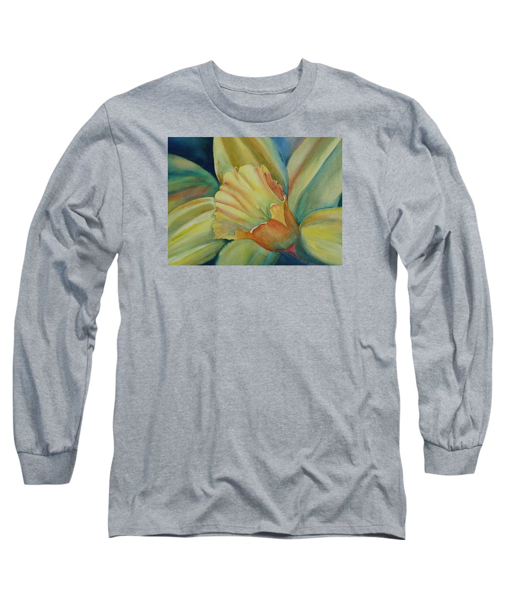 Flower Long Sleeve T-Shirt featuring the painting Dazzling Daffodil by Ruth Kamenev