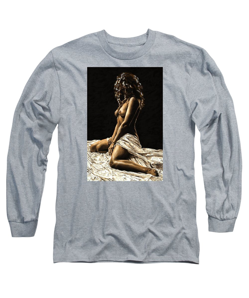 Nude Long Sleeve T-Shirt featuring the painting Defiance by Richard Young