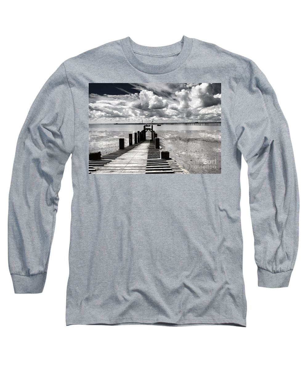 Wharf Southend Essex England Beach Sky Long Sleeve T-Shirt featuring the photograph Derelict Wharf by Sheila Smart Fine Art Photography