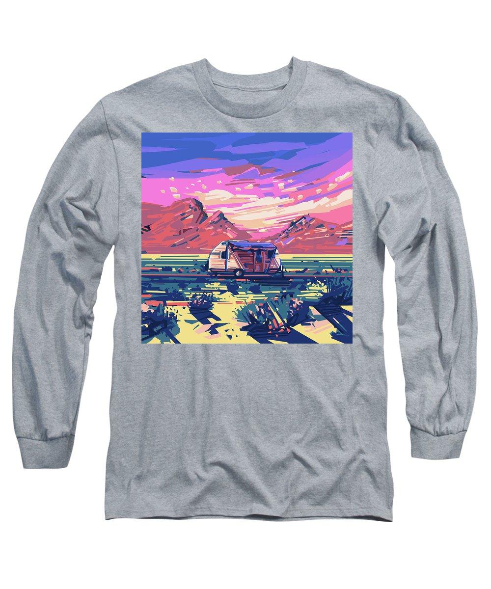 Road Long Sleeve T-Shirt featuring the digital art Desert Landscape by Bekim M
