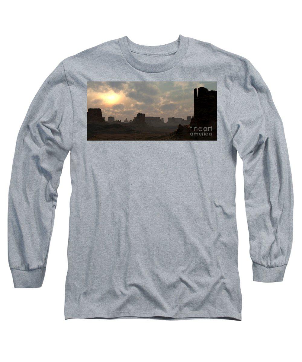 Desert Long Sleeve T-Shirt featuring the digital art Desert Morning by Richard Rizzo