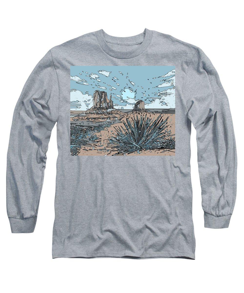 Desert Long Sleeve T-Shirt featuring the digital art Desert Scene by Bekim M