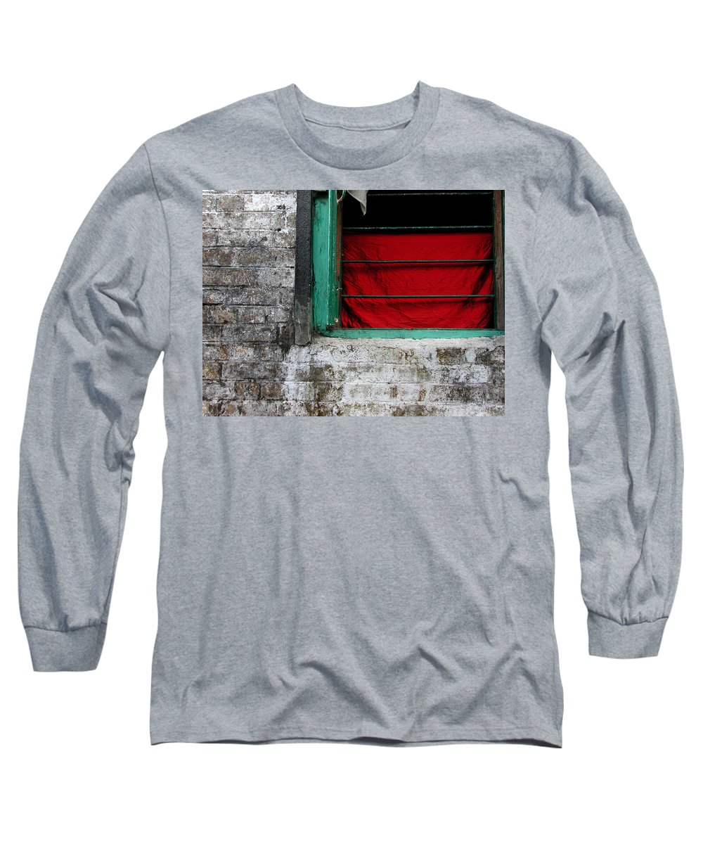Red Long Sleeve T-Shirt featuring the photograph Dharamsala Window by Skip Hunt