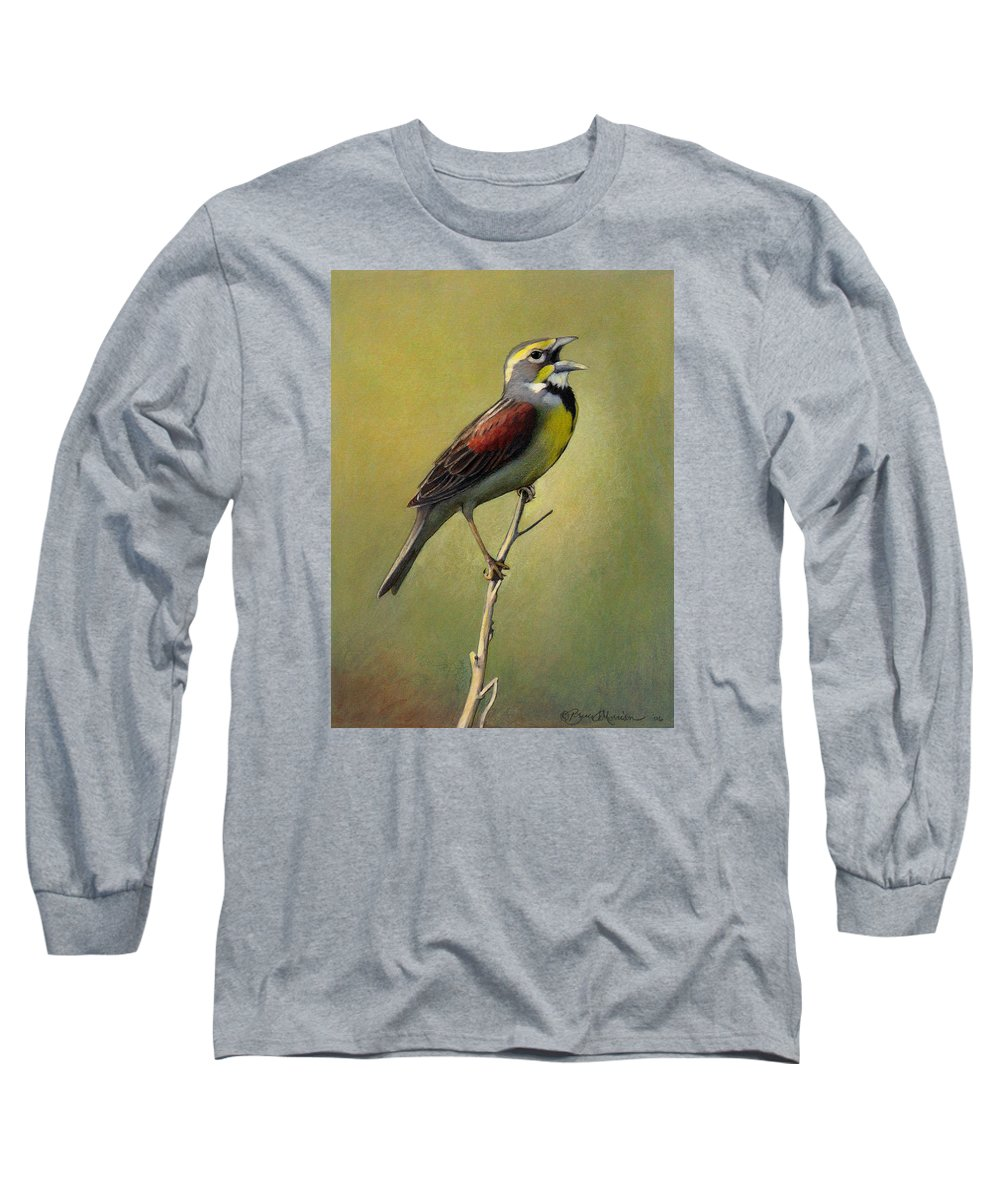 Birds Long Sleeve T-Shirt featuring the drawing Dickcissel Summer Song by Bruce Morrison
