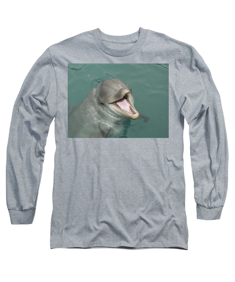 Dolphin Long Sleeve T-Shirt featuring the painting Dolphin by Sean M