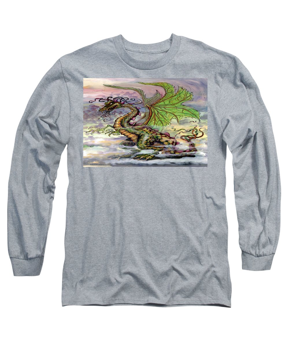 Dragon Long Sleeve T-Shirt featuring the painting Dragon by Kevin Middleton