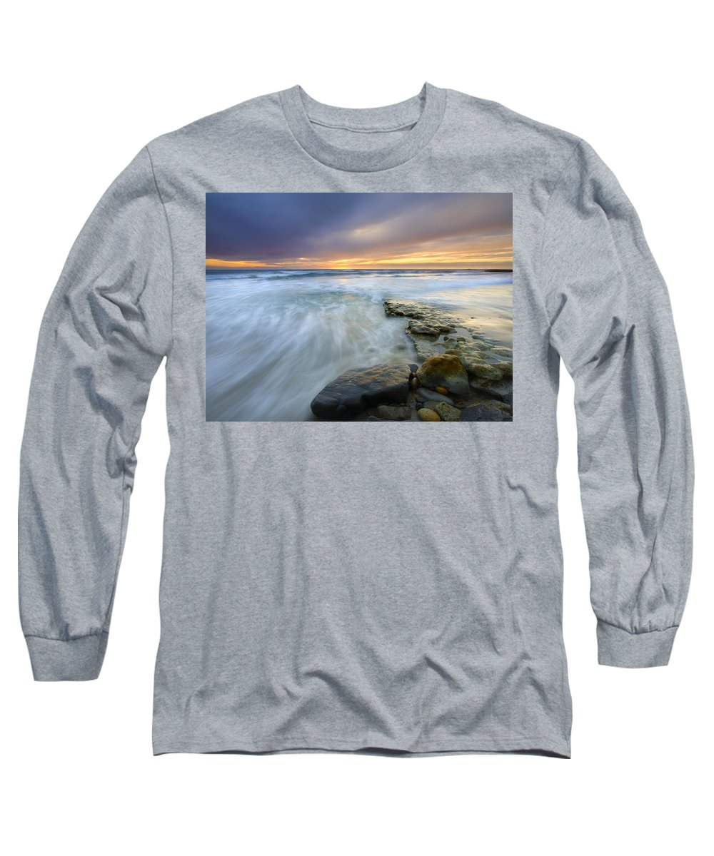 Rocks Long Sleeve T-Shirt featuring the photograph Driven Before The Storm by Mike Dawson