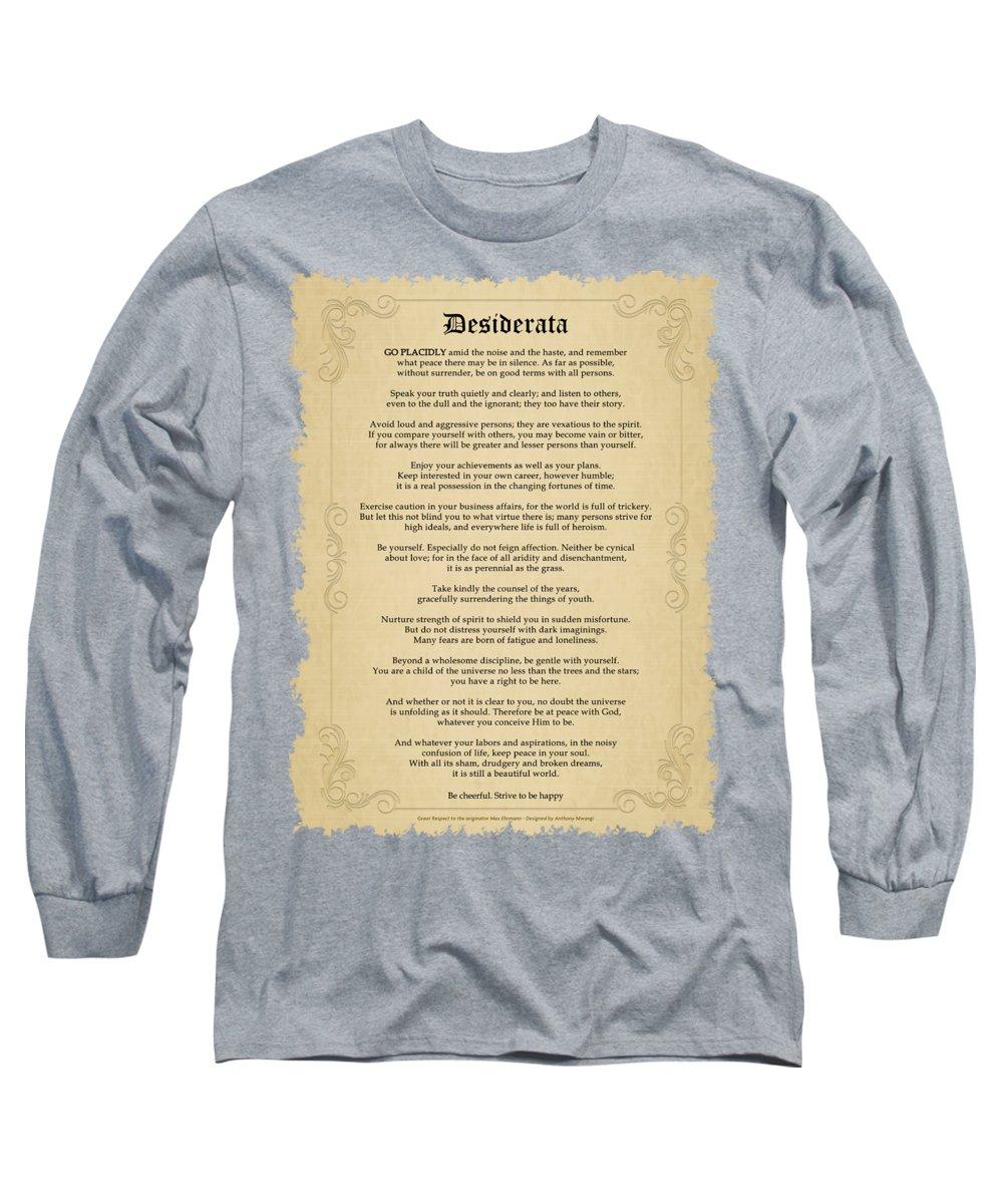 Lovely Long Sleeve T-Shirt featuring the digital art Desiderata by Anthony Mwangi