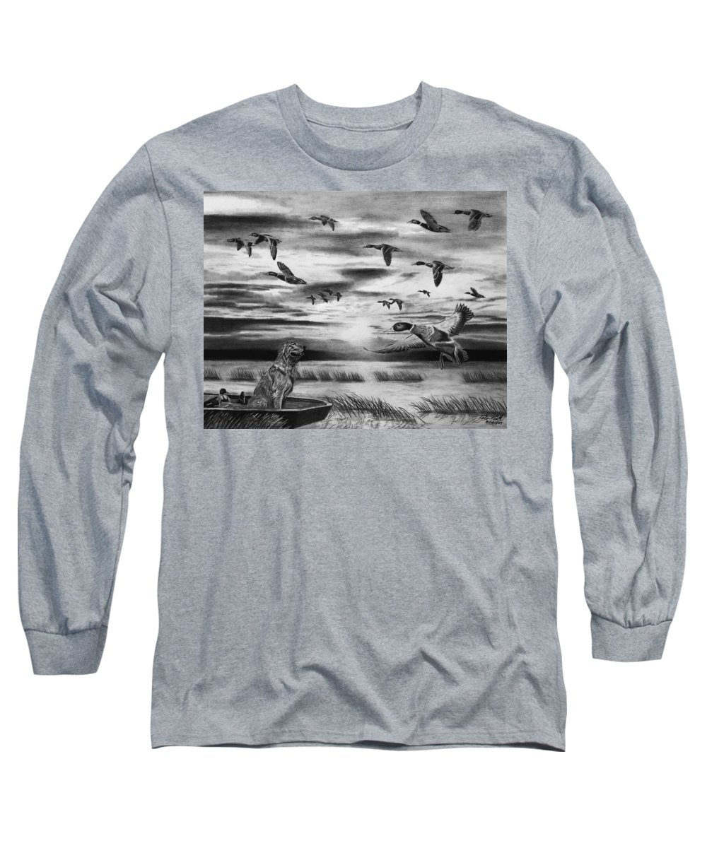 Early Morning Long Sleeve T-Shirt featuring the drawing Early Morning by Peter Piatt
