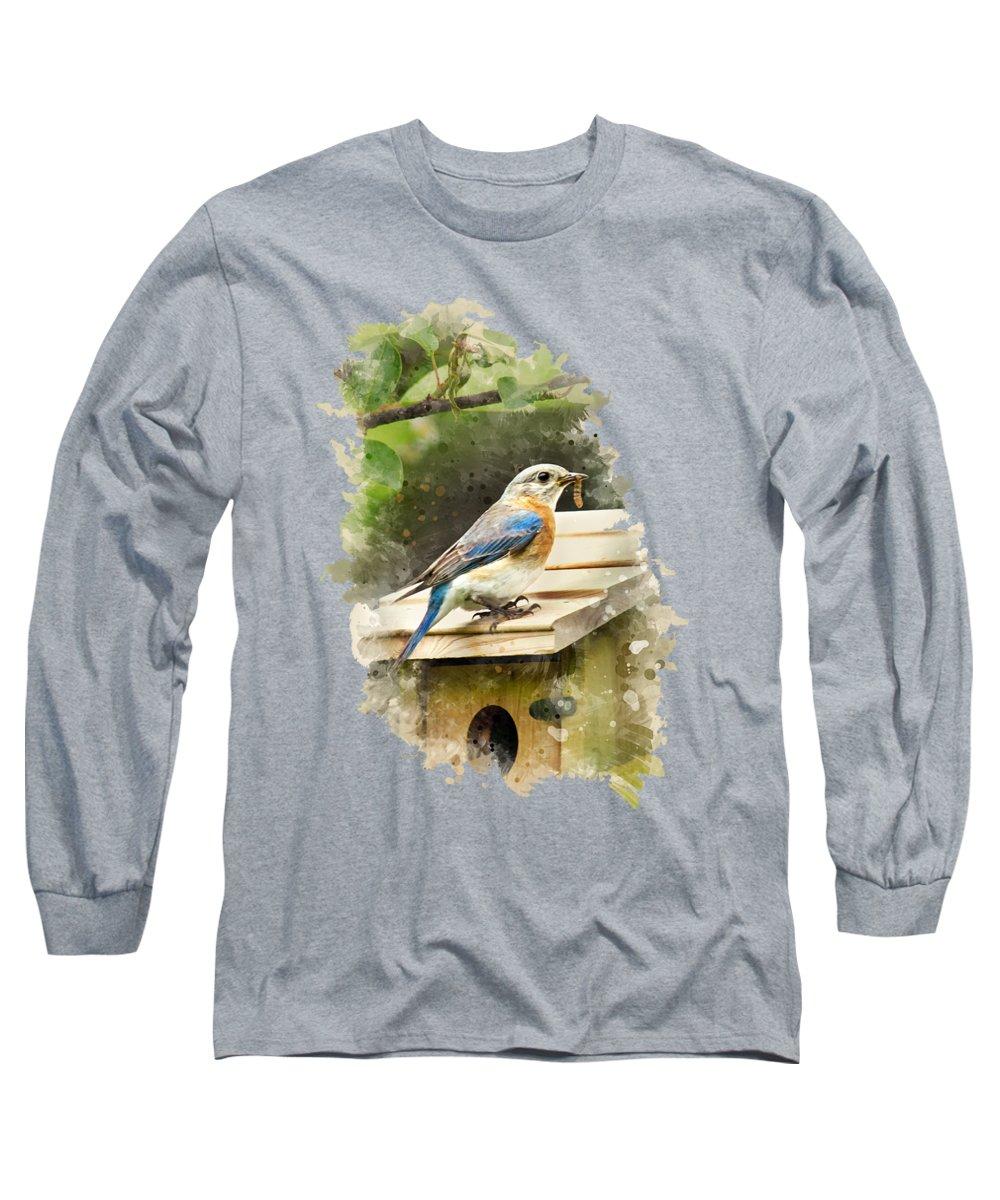 Bluebird Long Sleeve T-Shirt featuring the mixed media Eastern Bluebird Watercolor Art by Christina Rollo
