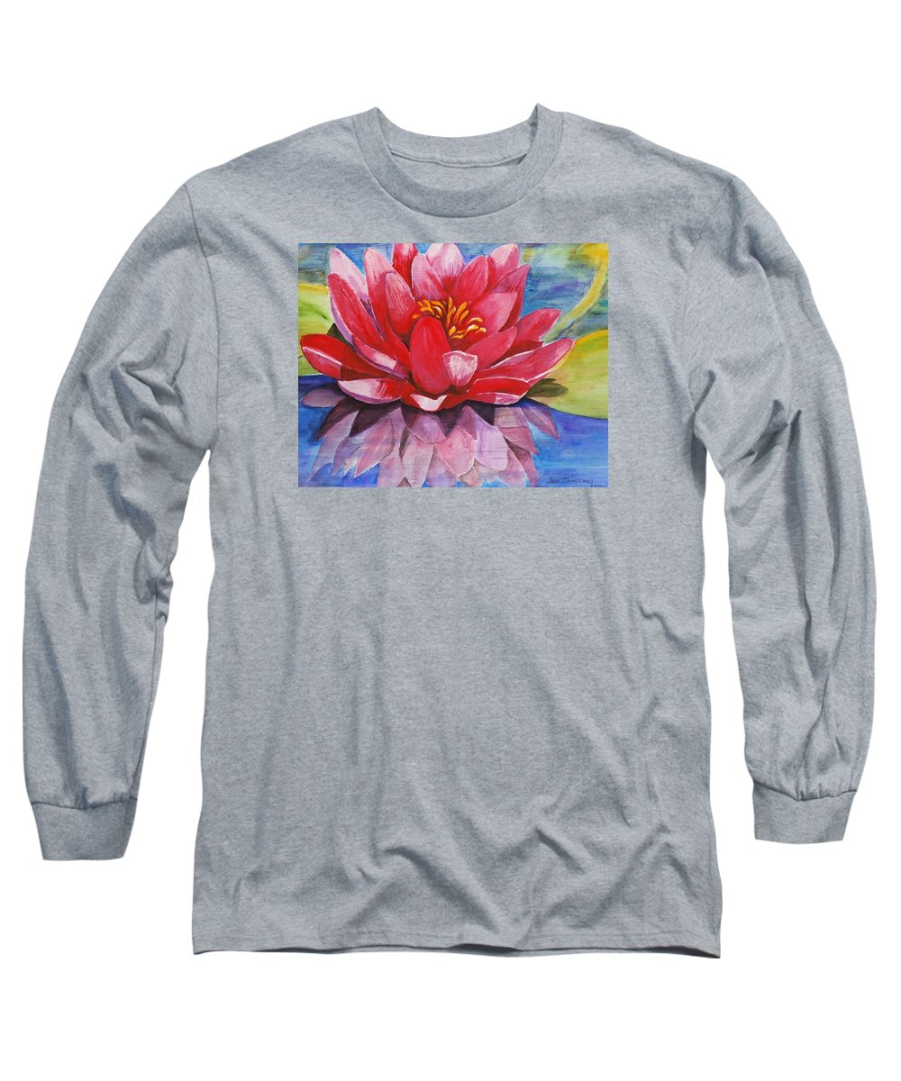 Lily Long Sleeve T-Shirt featuring the painting Ela Lily by Jun Jamosmos