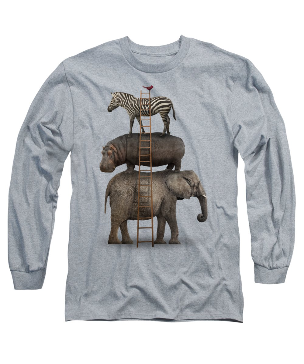 Whimsical Long Sleeve T-Shirt featuring the photograph Elephant, Hippo, Zebra Animal Stack With A Cardinal by Greg Noblin