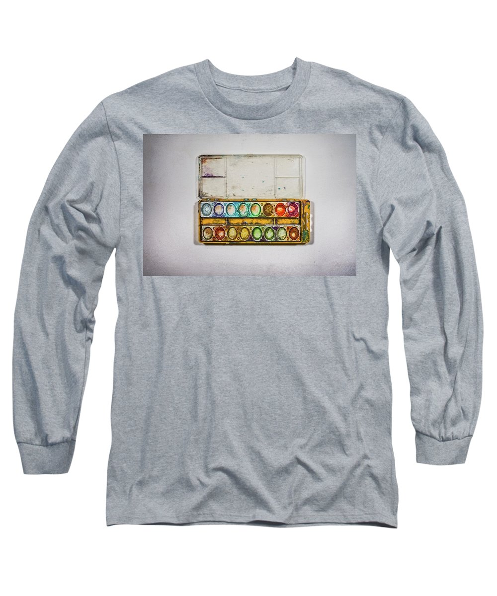 Watercolor Long Sleeve T-Shirt featuring the photograph Empty Watercolor Paint Trays by Scott Norris